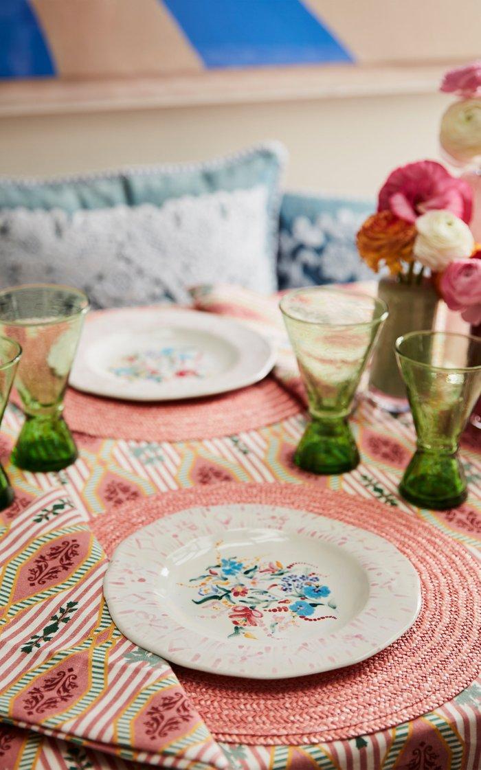 Primavera Fruit Plate Pink Rim Set Of 2