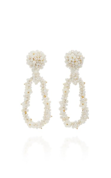 Bouquet Bead, Faux Pearl and Silk Earrings