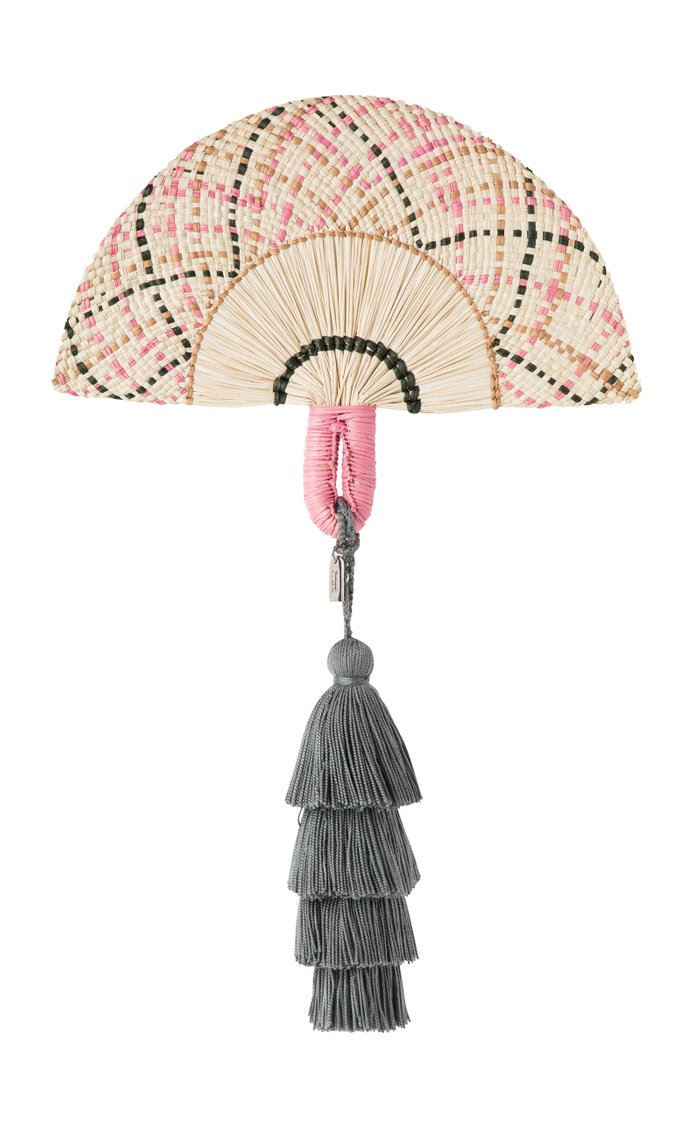 Exclusive La Brisa Tasseled Straw Fan