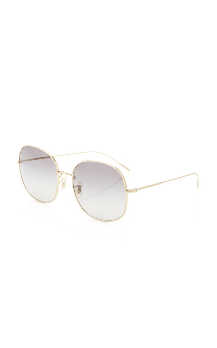 Mehrie Round-Frame Metal Sunglasses