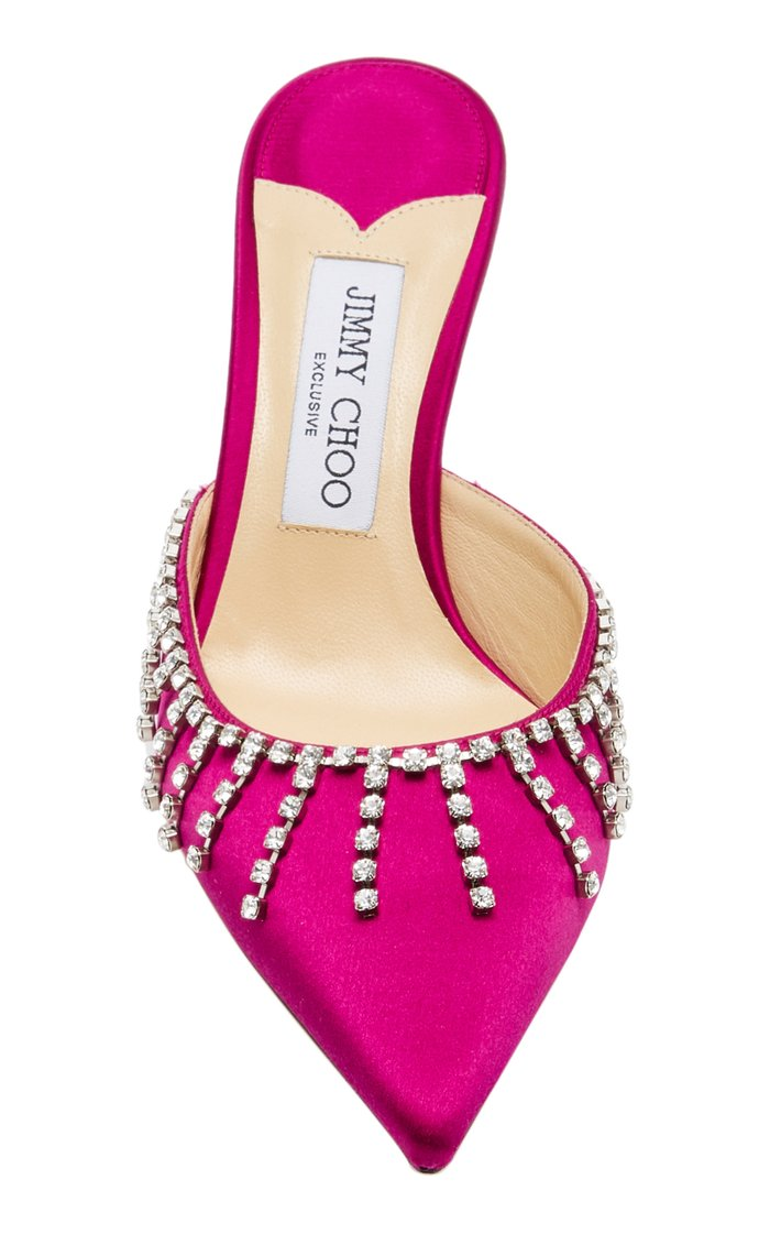 Exclusive Tatie Crystal-Embellished Satin Mules