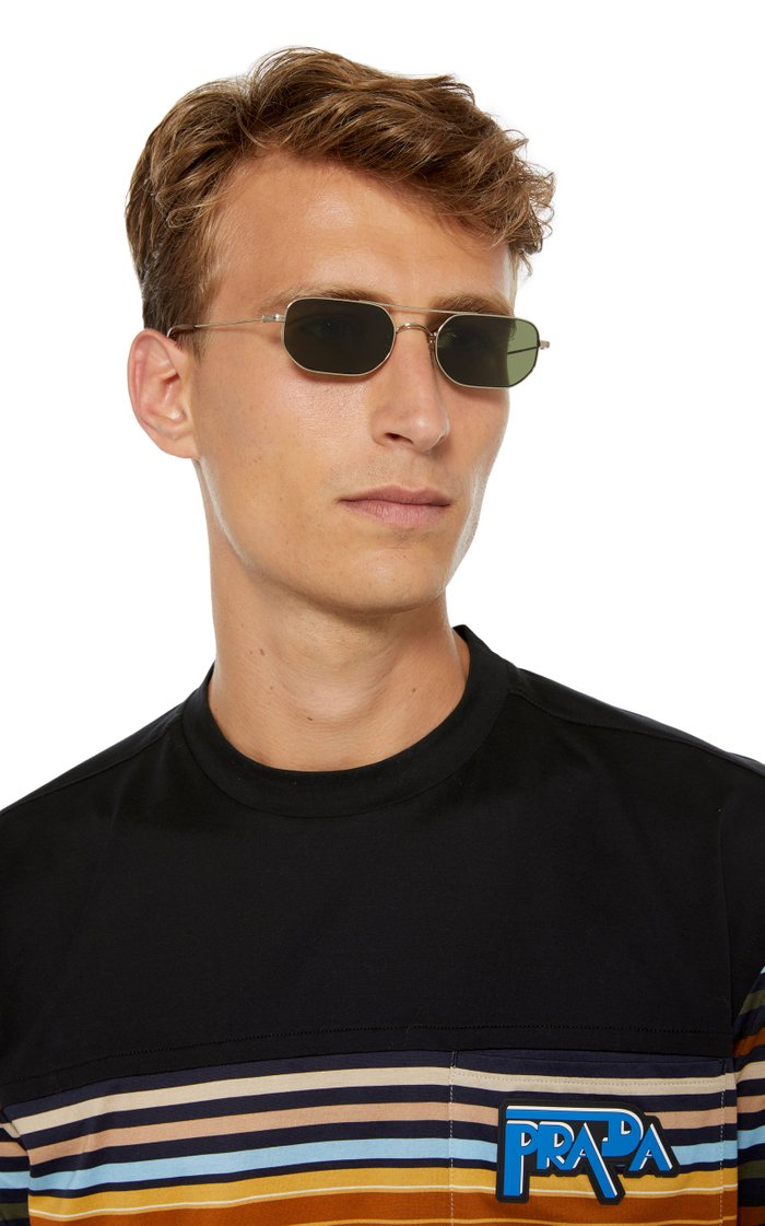 Indio Rectangle-Frame Metal Sunglasses