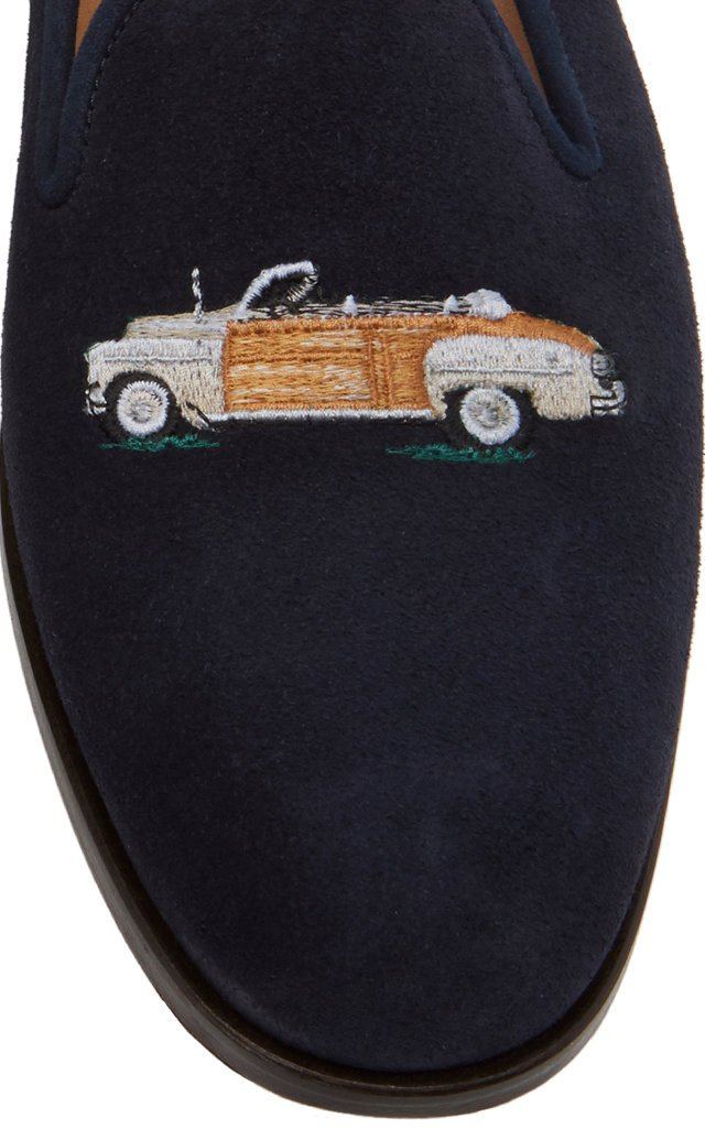 Woody Embroidered Suede Loafers