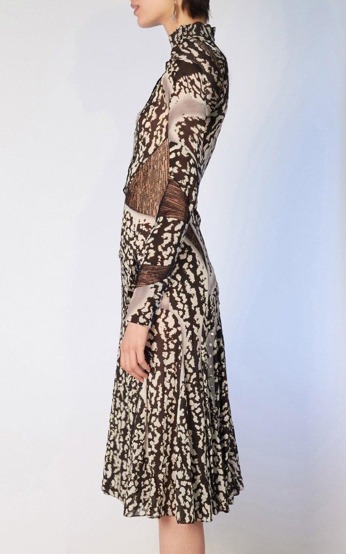 Printed Silk-Blend Midi Dress