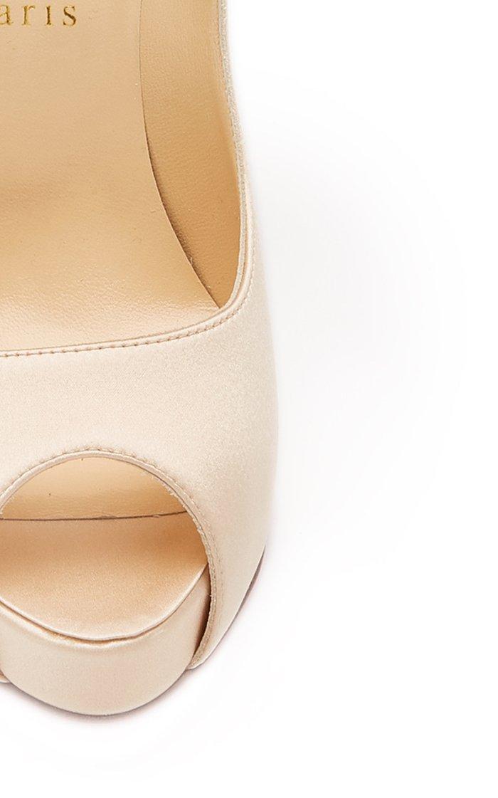 Anemoniac Embellished Satin Peep-Toe Pumps