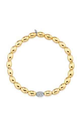 Pave Oval Spacer On Gold Oval Bracelet