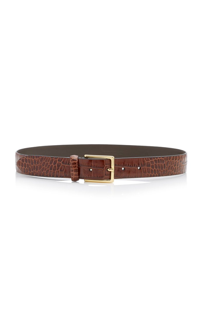 Croc-Effect Glazed Leather Belt