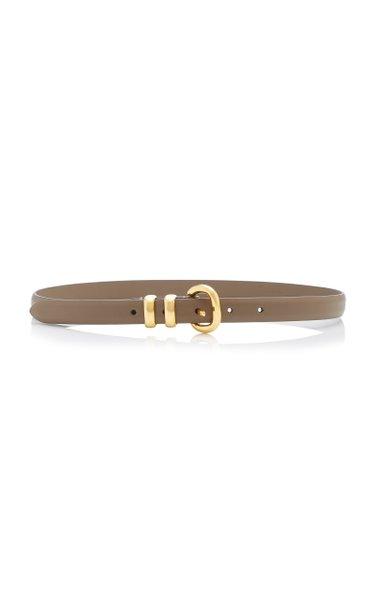 Skinny Satin-Finish Leather Belt