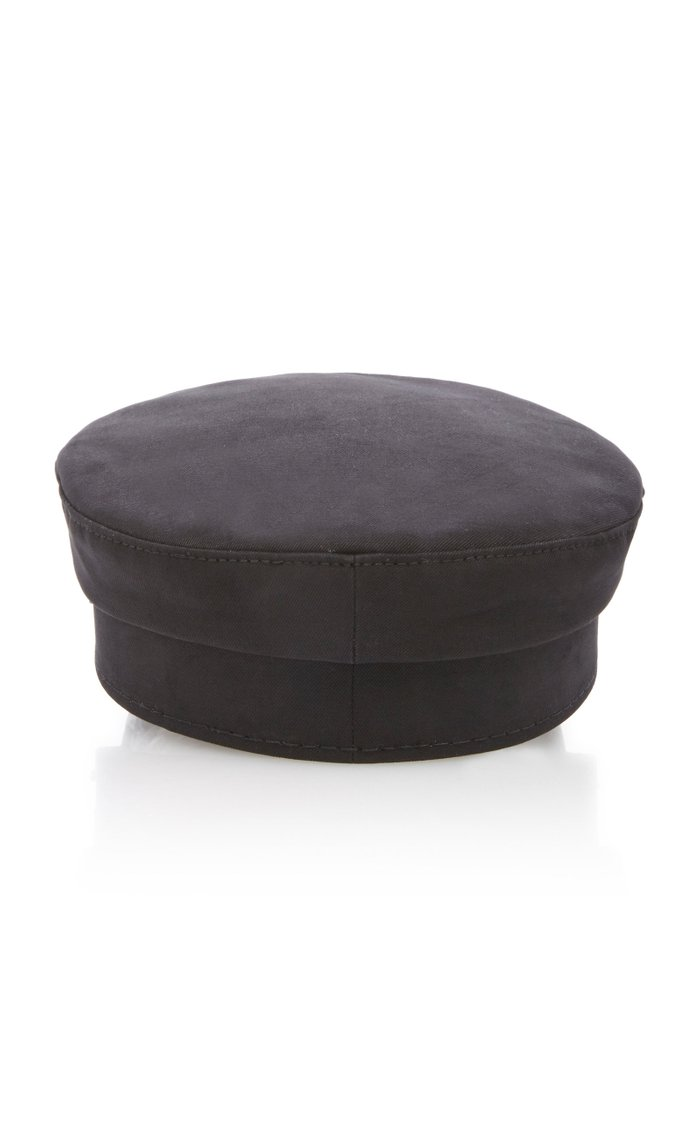 Leather-Trimmed Canvas Baker Boy Cap