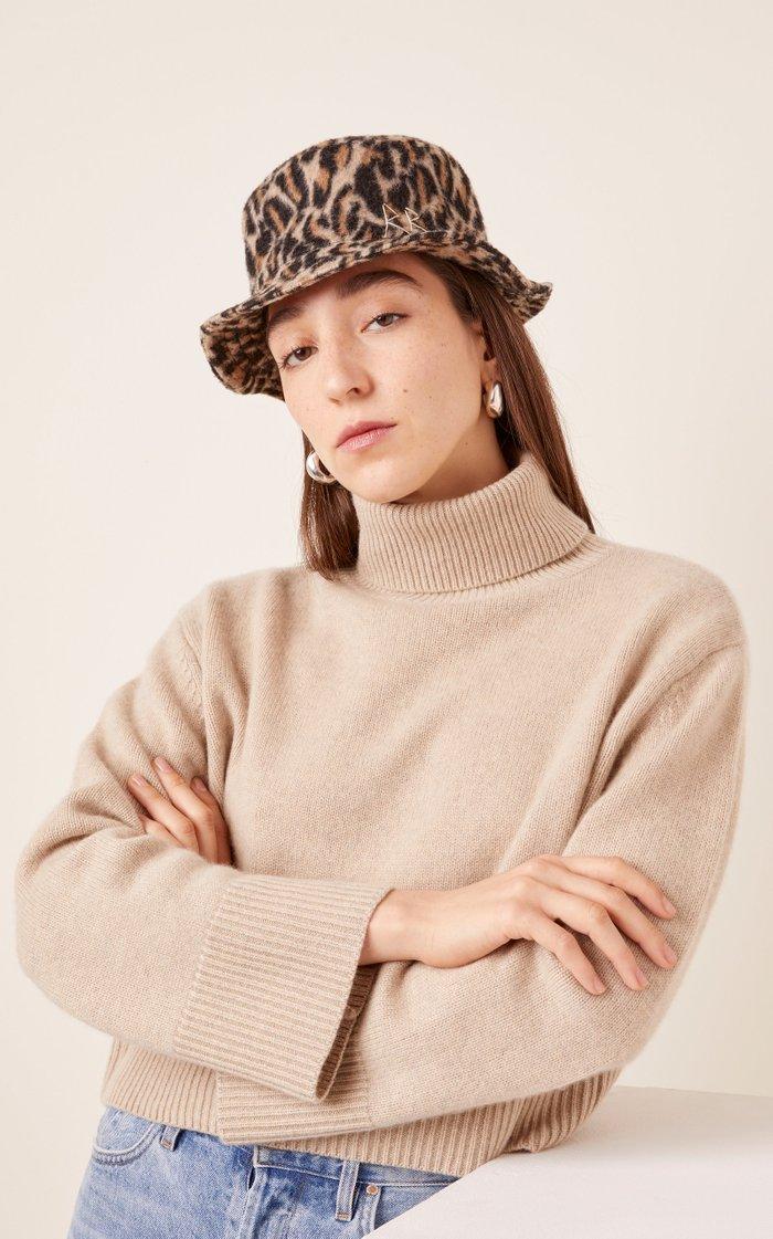Leopard-Print Wool Bucket Hat