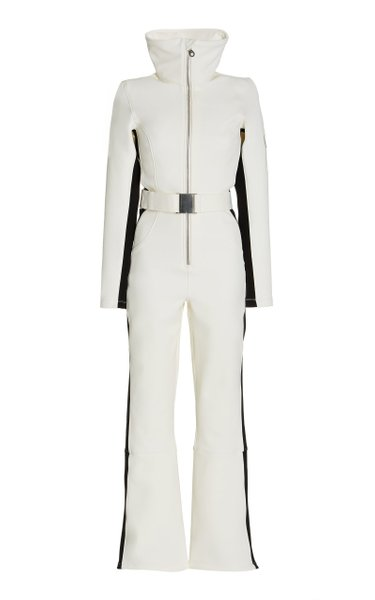 The Cordova Belted Striped Stretch-Shell Ski Suit