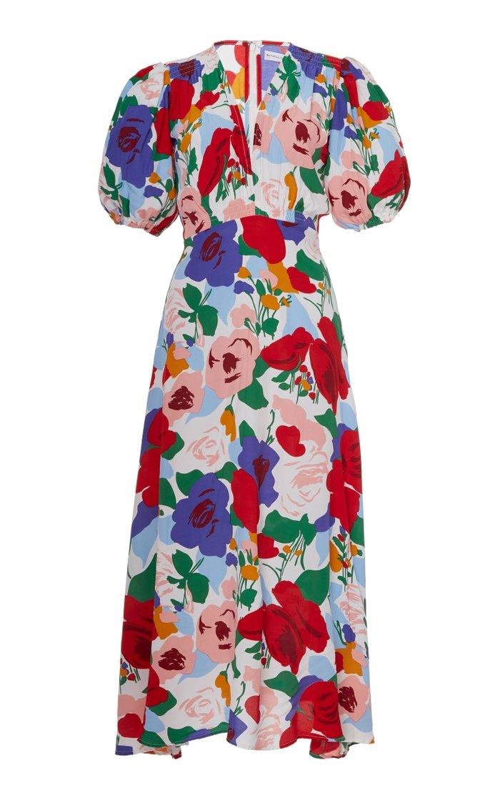 Vittoria Floral Crepe Midi Dress
