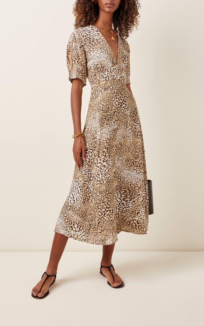 Meadows Leopard-Print Crepe Midi Dress