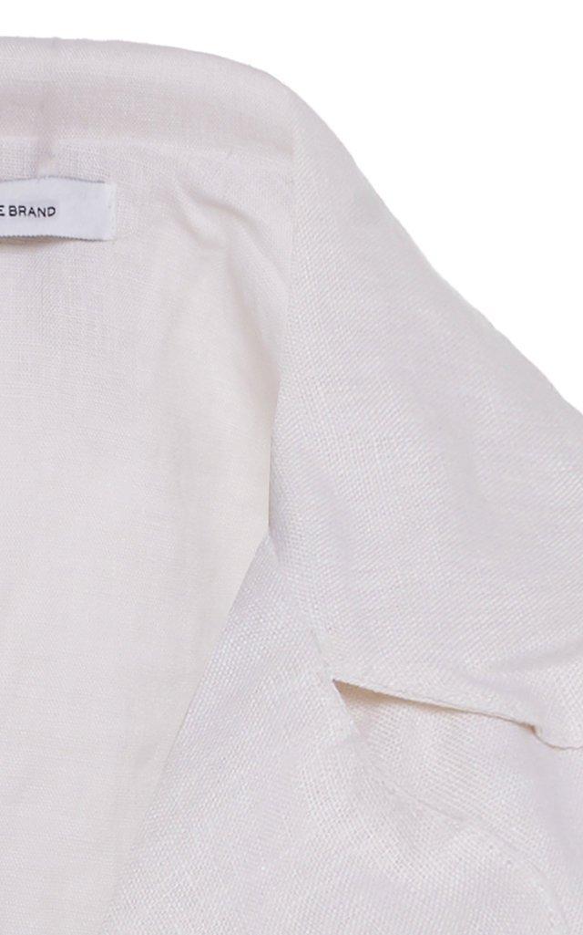 Fernanda Cropped Tie-Front Linen Top