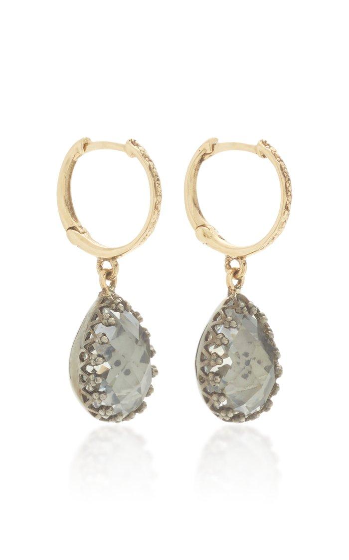 Lady Jane 14K Yellow Gold, Black Rhodium And Quartz Earrings