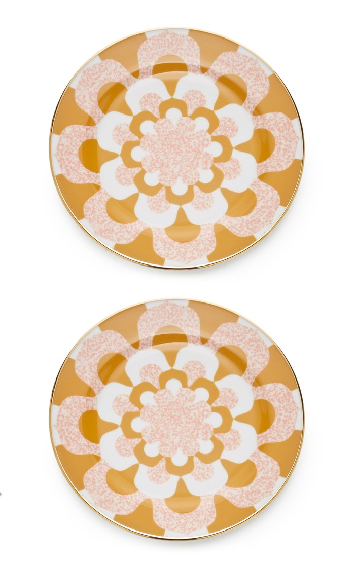 Set-Of-Two Porcelain Dessert Plates