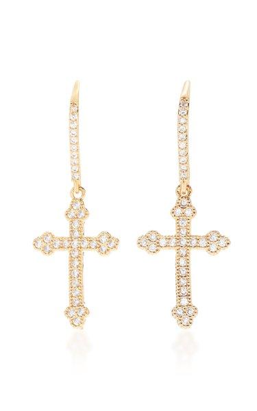 Micro Crucifix Crystal Earrings