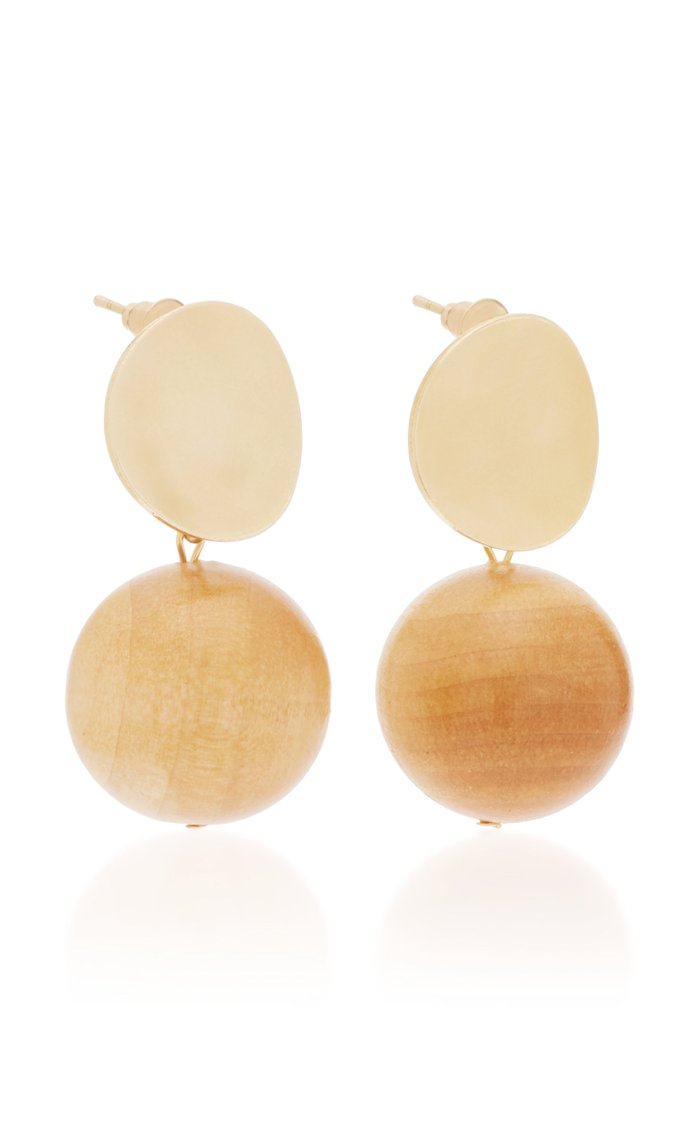 The Audrey Wood And Gold-Plated Brass Drop Earrings