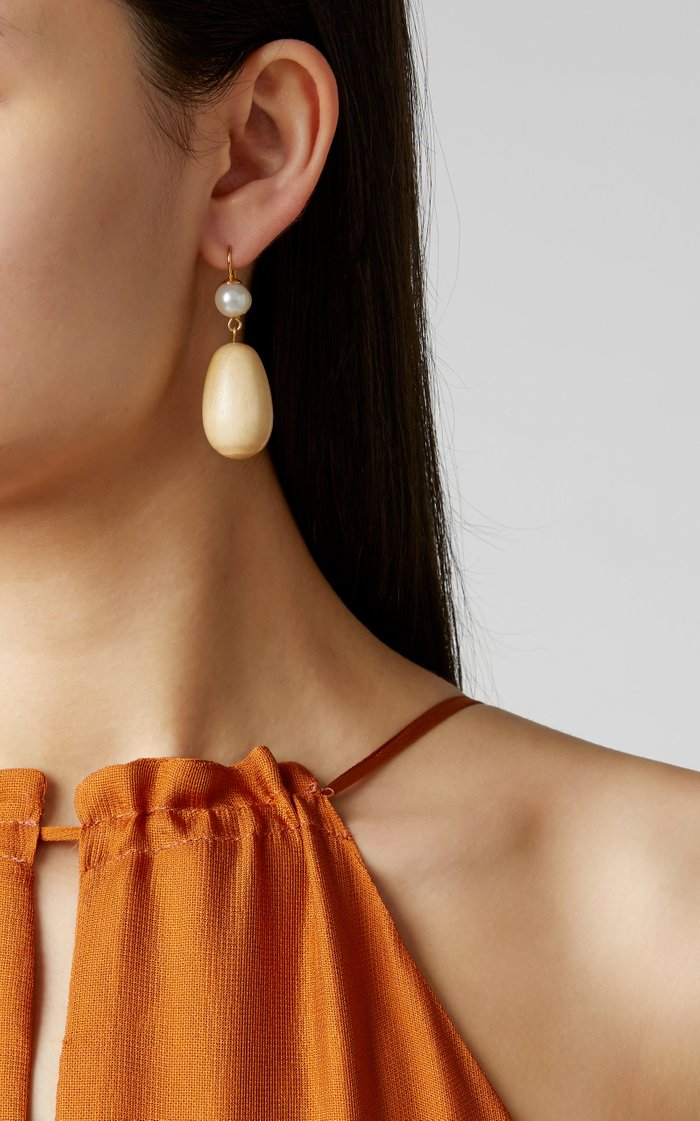 The Egg Pearl And Pine Drop Earrings