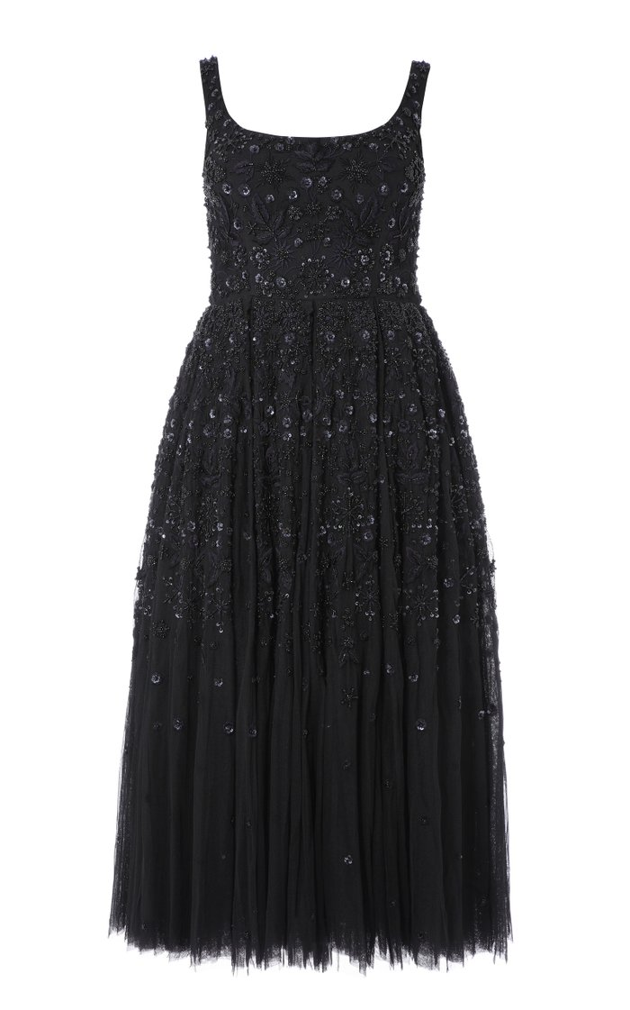 Snowflake Sequin-Embellished Tulle Midi Dress