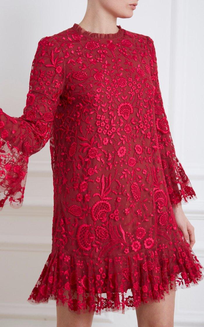 Demetria Floral-Embroidered Tulle Mini Dress