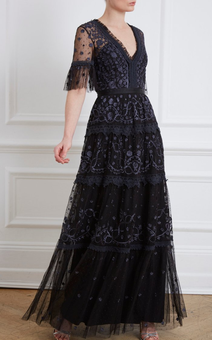 Midsummer Lace-Trimmed Embroidered Point D'esprit Tulle Gown