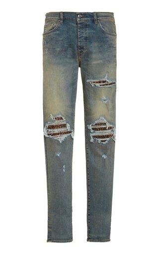MX1 Distressed Slim-Leg Jeans