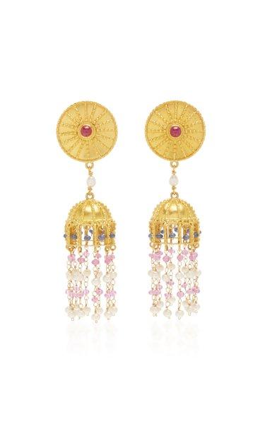 Sapphire and Pearl Tassel Drop Earrings