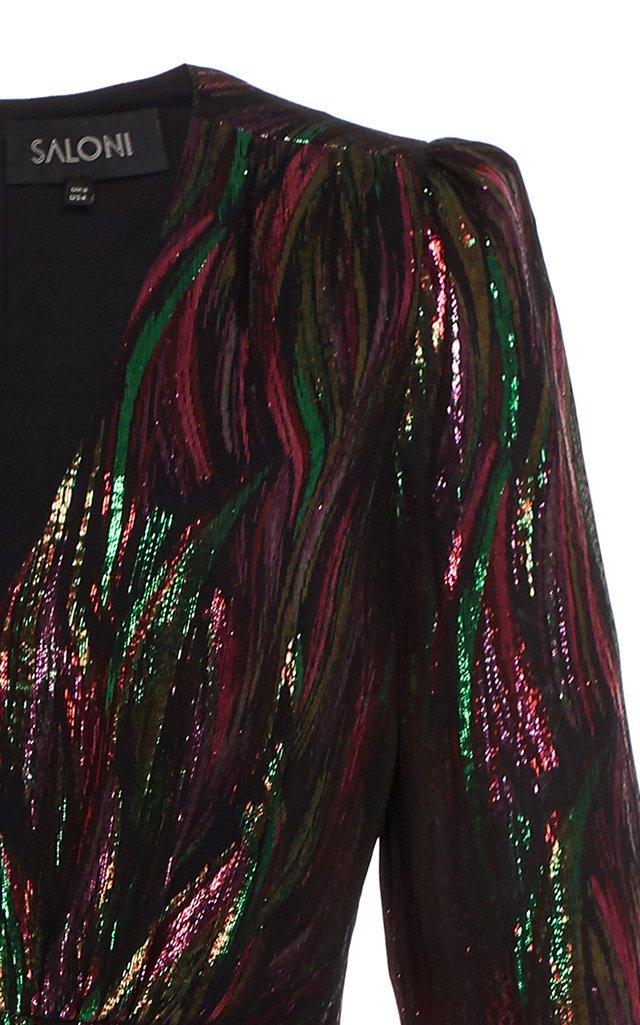 Alya Ruffled Silk-Blend Lurex Midi Dress