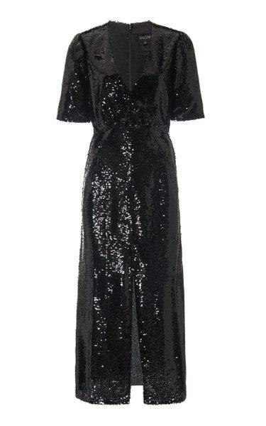 Eden Sequined Silk Midi Dress