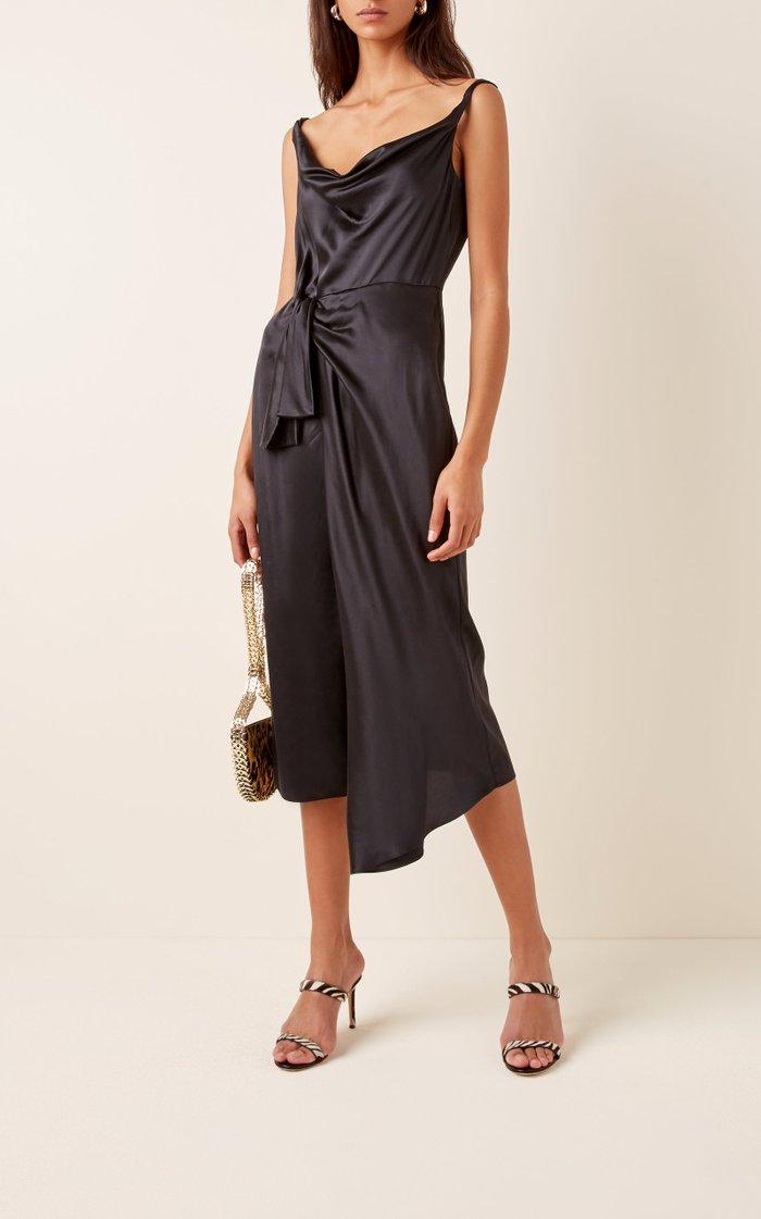 Giselle Wrap-Effect Silk-Satin Midi Dress