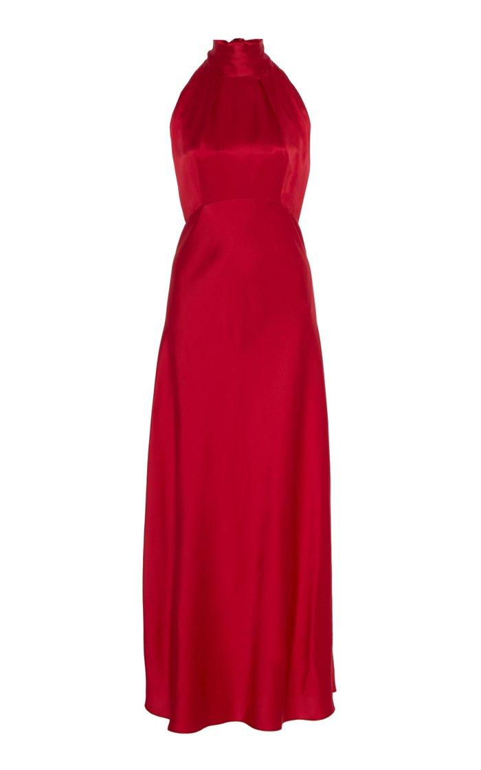 Michelle Silk-Satin Midi Dress