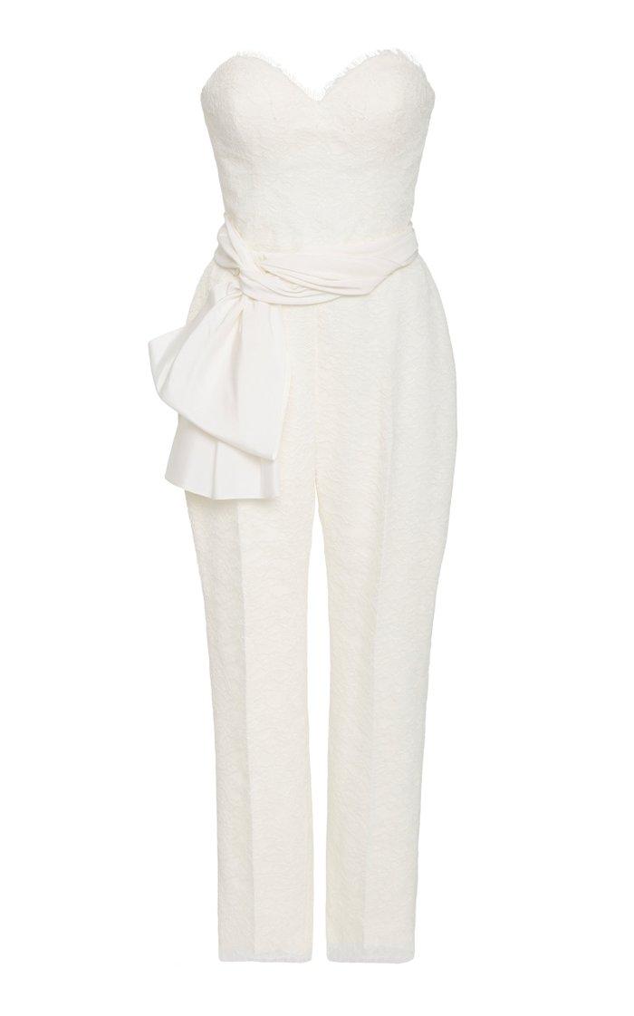 Lourdes Strapless Chantilly Lace Jumpsuit