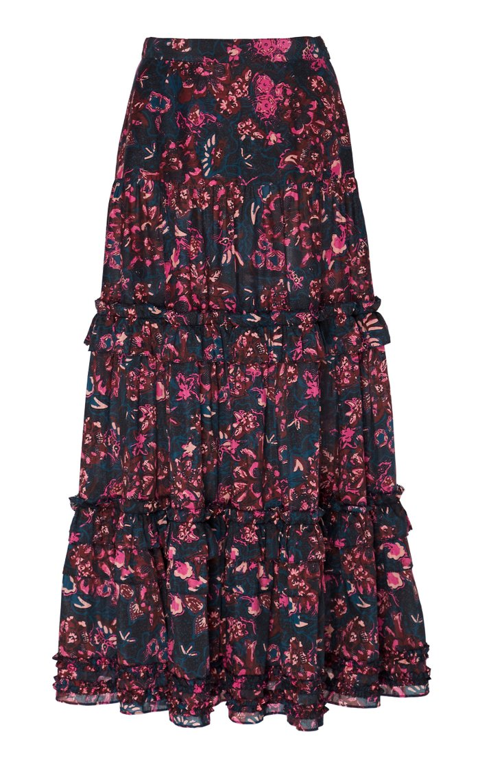 Amalia Floral-Print Cotton-Blend Midi Skirt