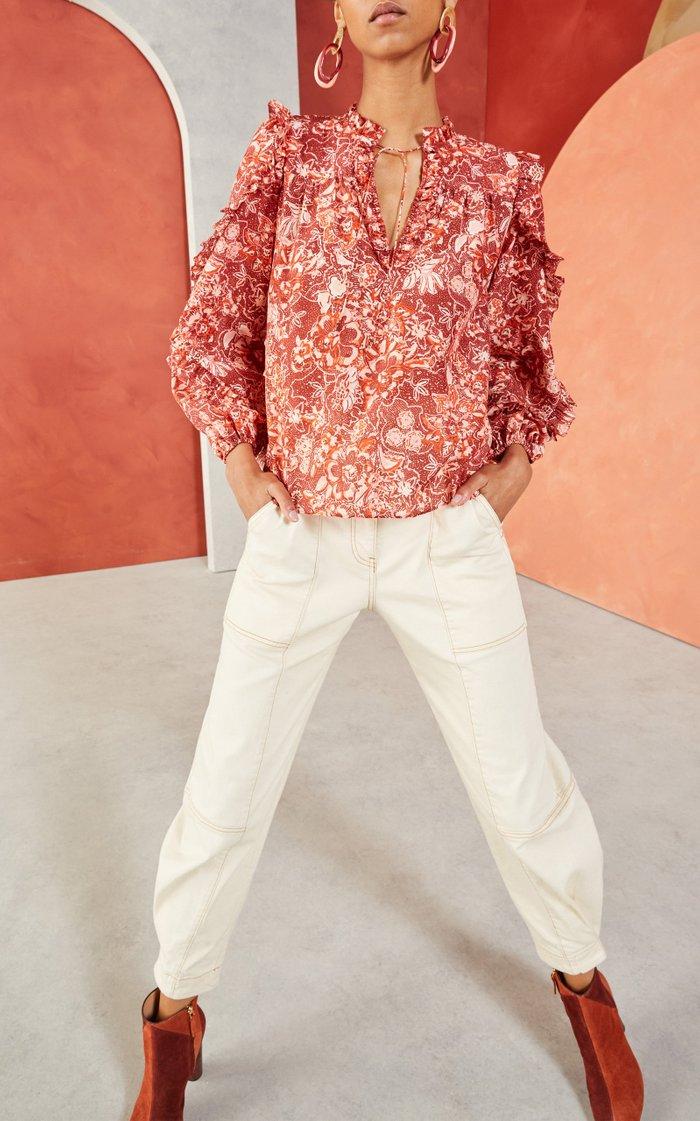 Rana Tie-Neck Floral-Print Cotton-Blend Blouse