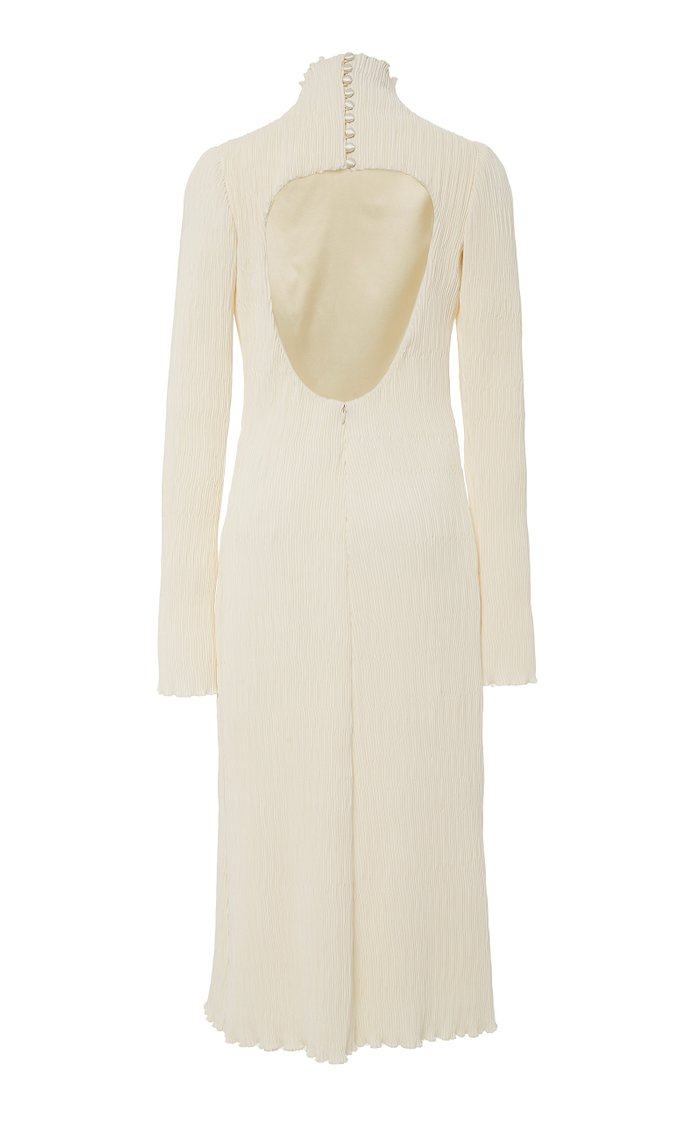 Adrienne Pleated Silk and Wool Midi Dress