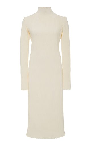 Adrienne Pleated Silk and Wool Midi Dress