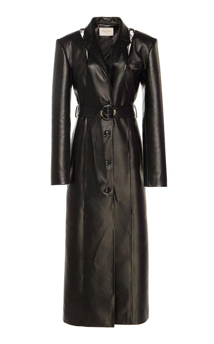 Cutout Faux Leather Coat