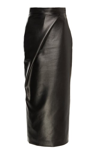 High-Waisted Faux Leather Midi Skirt