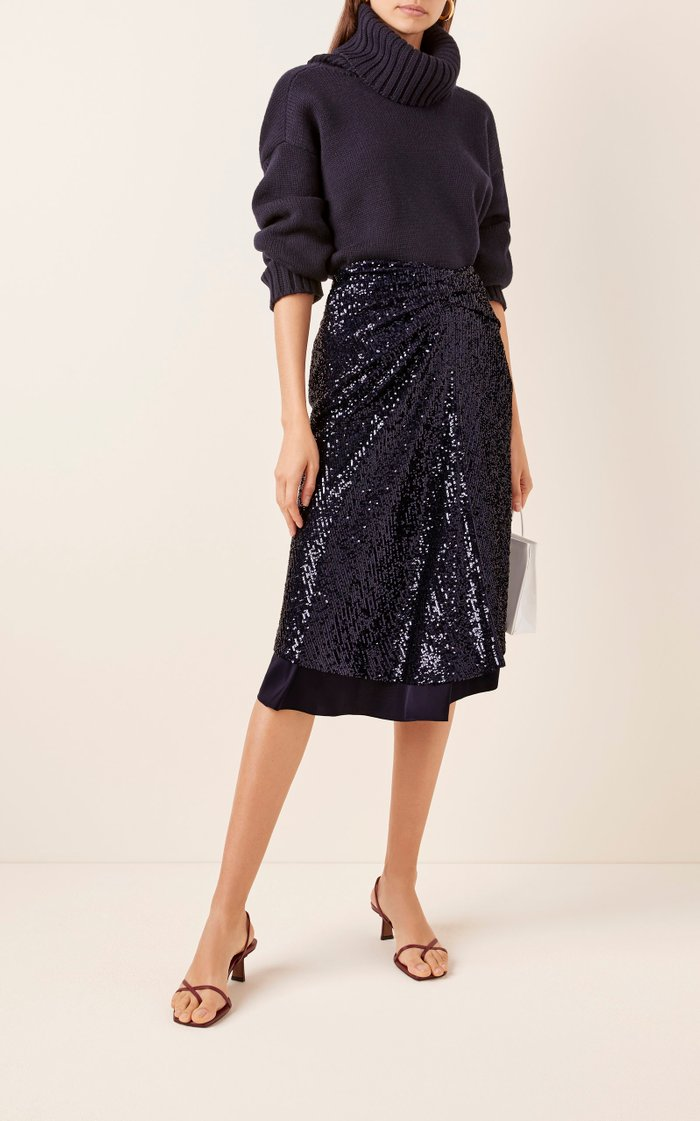 Kayla Draped Sequin Midi Skirt