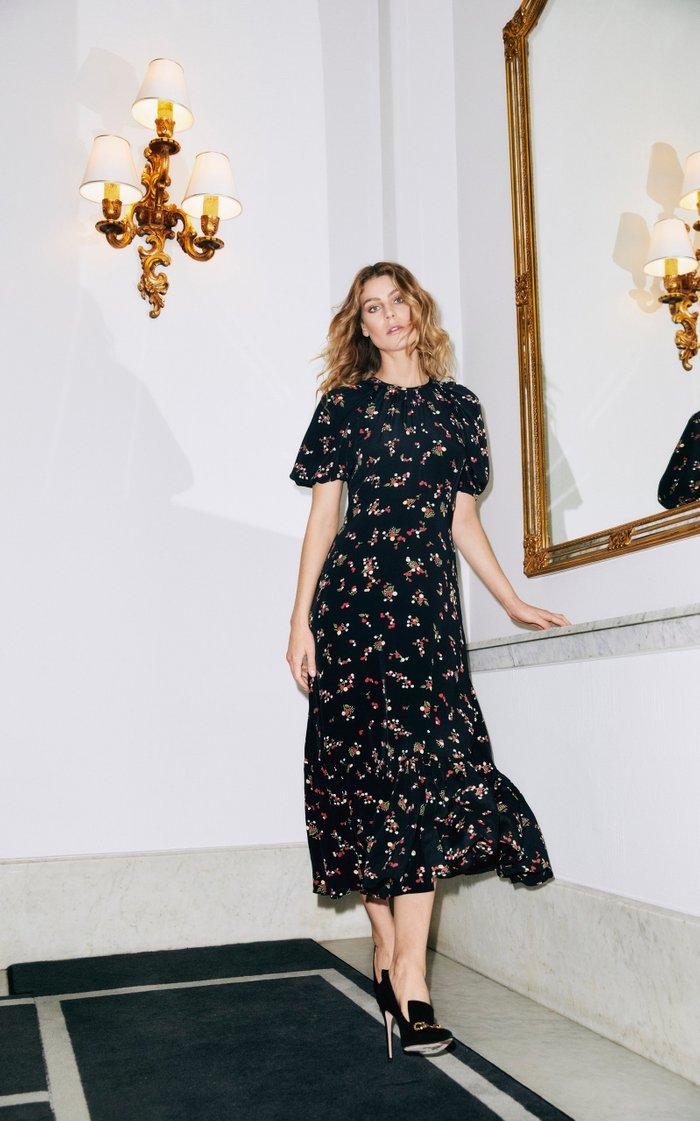 Floral-Print Crepe De Chine Midi Dress