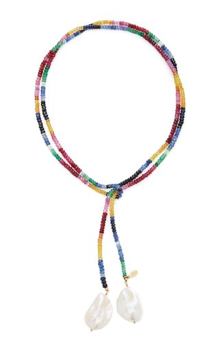 Gold-Filled Ruby, Emerald, Sapphire and Pearl Necklace