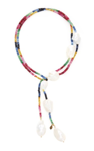 Gold-Filled Ruby, Emerald and Sapphire and Pearl Necklace