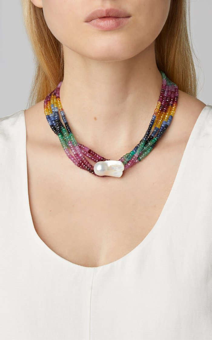 Five Strand Gold-Filled, Multi-Stone and Pearl Choker