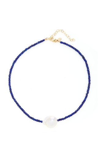 Gold-Filled, Lapis Lazuli and Pearl Necklace