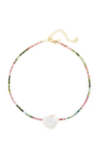 Gold-Filled, Tourmaline and Pearl Necklace