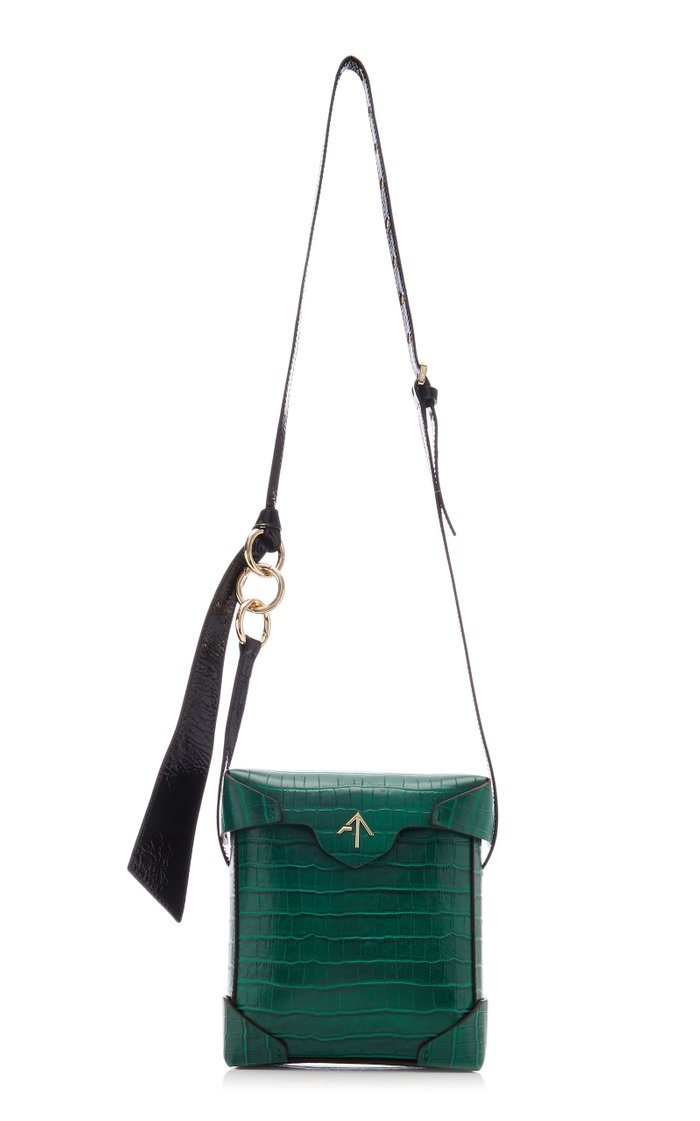 Pristine Mini Croc-Effect Leather Bag