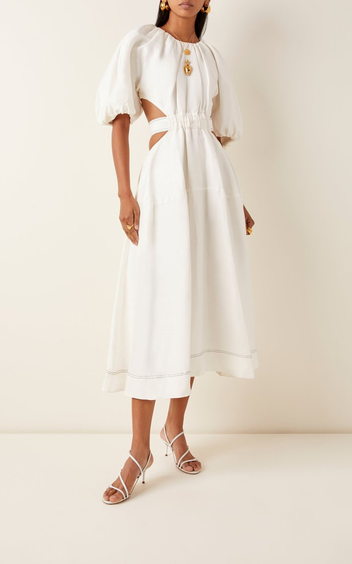 Mimosa Cutout Linen And Silk-Blend Midi Dress