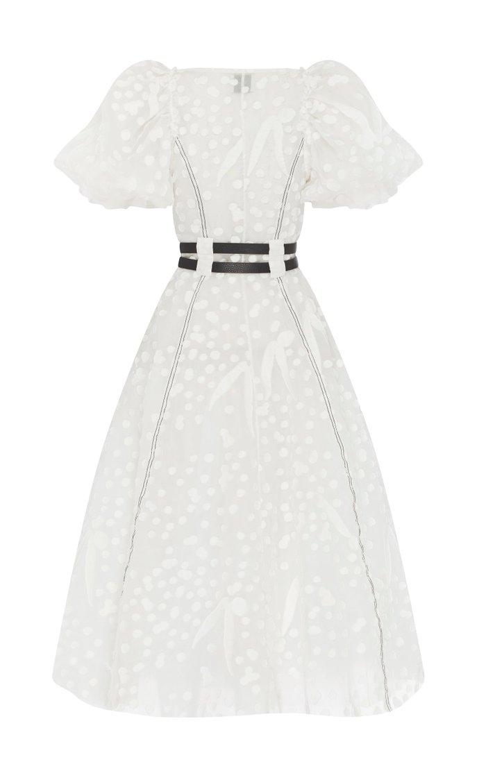 Salt Lake Belted Silk and Cotton-Blend Midi Dress