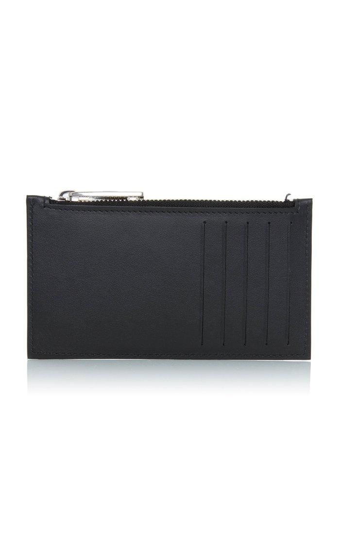 Split-Logo Leather Zip Card Case